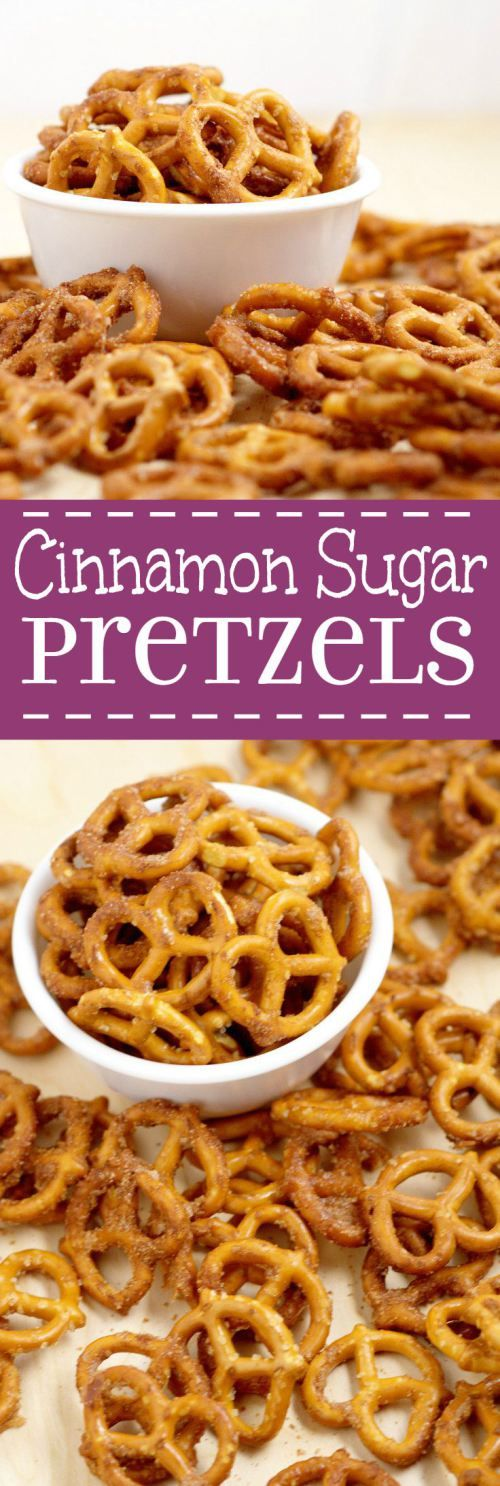 Cinnamon Sugar Pretzels Recipe- salty pretzels baked in butter, cinnamon, and sugar.  A super yummy appetizer and snack recipe, great for a party, the holidays, or just because!  The perfect combinati (Sweet Recipes Cinnamon)