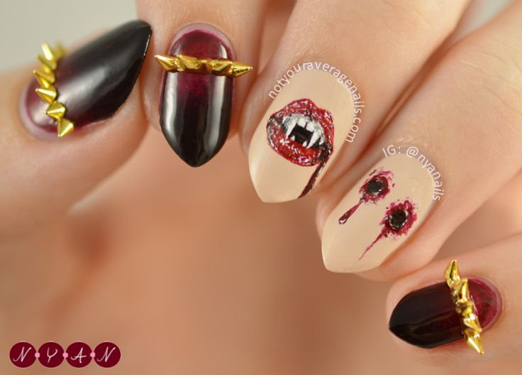 95 best nail art images on pinterest nail art art designs and notyouraveragenails bite me my second halloween design of the year is a little bit darker than my first one and features some bite marks and vampire prinsesfo Choice Image