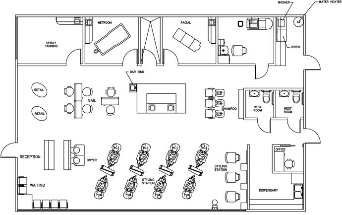 Beauty salon floor plan design layout 2385 square foot for Design a beauty salon floor plan