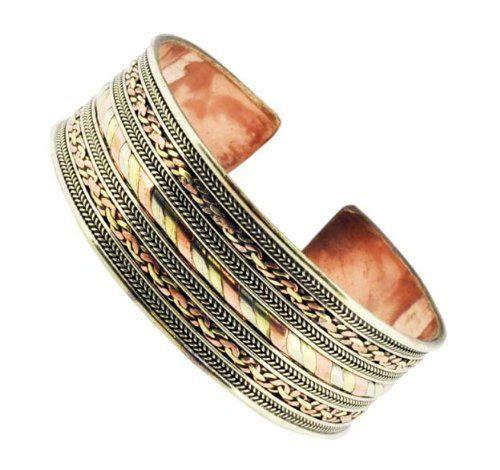 Tibetan Three Metal Filigreed Bracelet, Healing Bracelet, Copper Bracelet Hinky Imports. $14.99. Made from Copper, White Metal, and Brass. Tibetans believe that the metal combination has healing power. Filigreed Bracelet. Width: 1.1 Inch. Handmade in Nepal. Fully Adjustable Size
