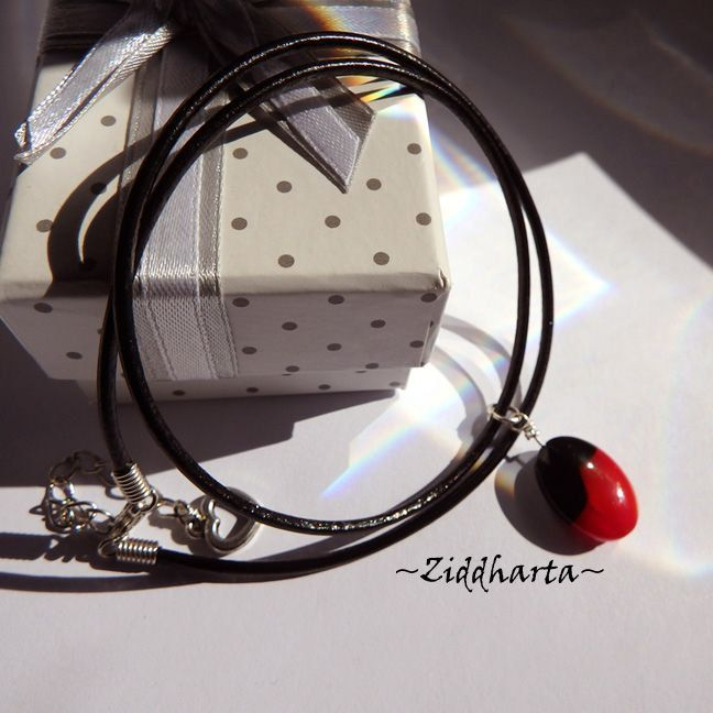 Oval LampWork Opaque Black Blood Red Necklace on Cord LampWork Necklace Glass handmade Pendant  - Handmade Jewelry Necklaces by Ziddharta by Ziddharta on Etsy