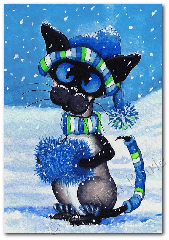 Chat siamois hiver neige - Art Imprimé by Bihrle ck218