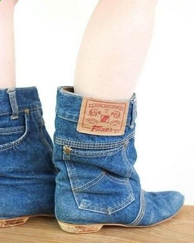 DIY jean boots! bahaha! wear these w/ a cow boy hat/ bandanna & nude body suit (maybe)
