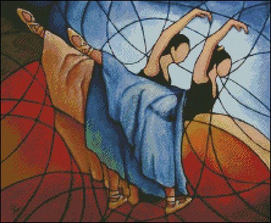 0 point de croix danseuses mosaique  - cross stitch mosaic dancers