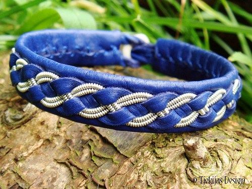 FENRIS Blue Leather Sami Viking Bracelet Handmade Nordic Tin Braid