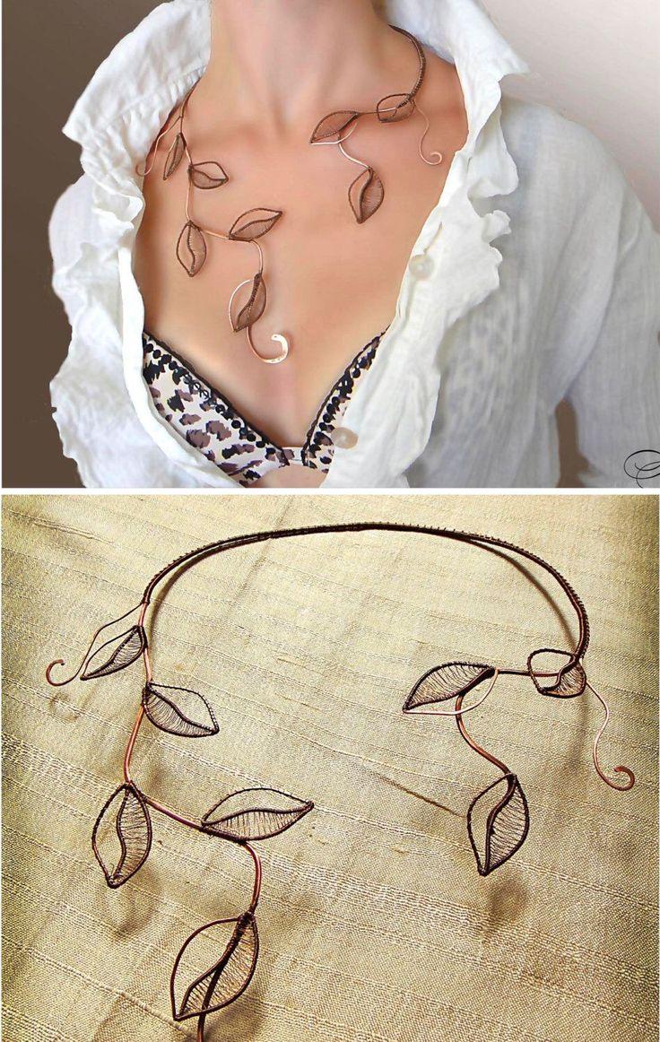 Necklace, foliage, Jewelry, copper jewelry, Wire Wrap, Copper,  jewelry set, bracelet by AlenaStavtseva on Etsy https://www.etsy.com/listing/220814954/necklace-foliage-jewelry-copper-jewelry
