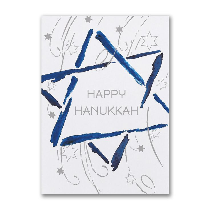 Hanukkah Star - Holiday Card  A watercolor Star of David and swirling stars add artistic style to your greetings on this modern Hanukkah card.