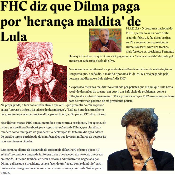 FHC diz que Dilma paga por 'herança maldita' de Lula ➤ http://politica.estadao.com.br/noticias/geral,fhc-diz-que-dilma-paga-por-heranca-maldita-de-lula,1770080 ②⓪①⑤ ⓪⑨ ②⑦ #Impeachment