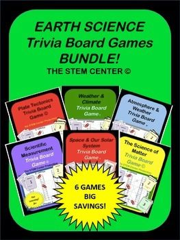 Earth Science Game Bundle:This Bundle has six trivia board games: Plate Tectonics - Measurements - Weather Space - Atmosphere - MatterThis board game focuses on the science surrounding Plate Tectonics * convergent* divergent* transform boundaries* compression* tension* folding* faults* uplift* Continental Drift* lithosphere * asthenosphere* mesosphere* crust mantle* core* Wegener* Hess* Pangaea* mountains* seismic waves* the scientific methodWeather - This board game focuses on the science…