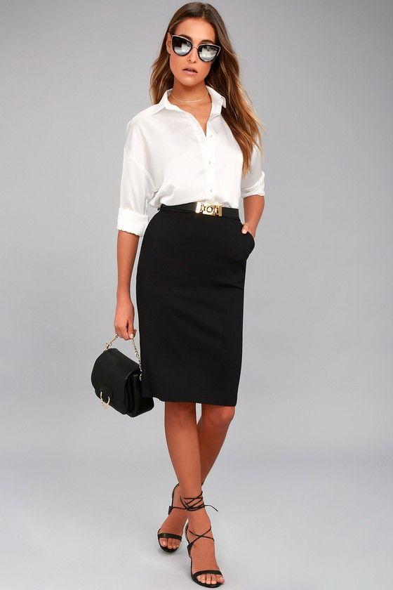 Daily Wonder Black Bodycon Midi Skirt 1