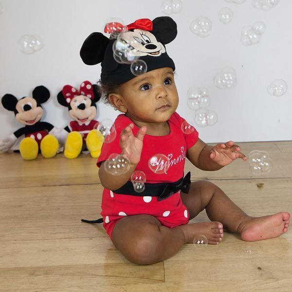 Disney Baby Minnie Mouse Jersey Bodysuit and Hat - www.totswarehouse.com The Disney Baby Minnie Mouse Jersey Bodysuit is a lovely dress up item for any little girl.  The bodysuit features a distinctive spot print, envelope folded sleeves and popper fastenings for easy dressing.  Complete with Hat.   Machine Washable  #disney #minnie #baby