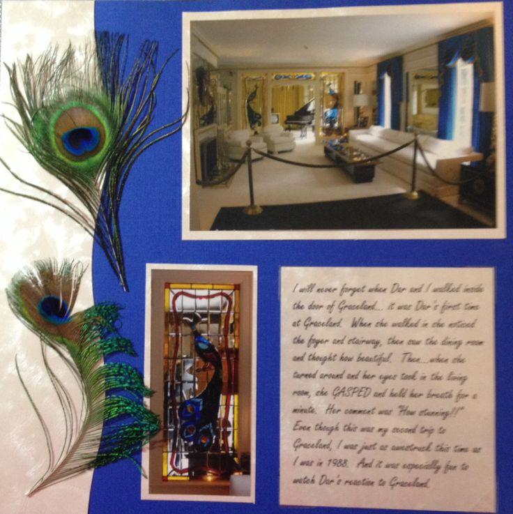 Scrapbook layout page idea Graceland Memphis Elvis Living Room Peacock