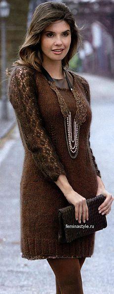 Вязание спицами и крючком короткого платья...