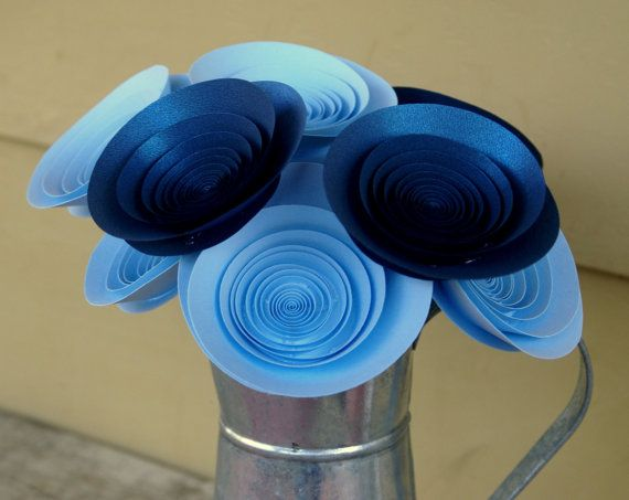 9 Large Sky Blue and Sapphire Paper Flowers Modern by FlowerThyme, $37.00