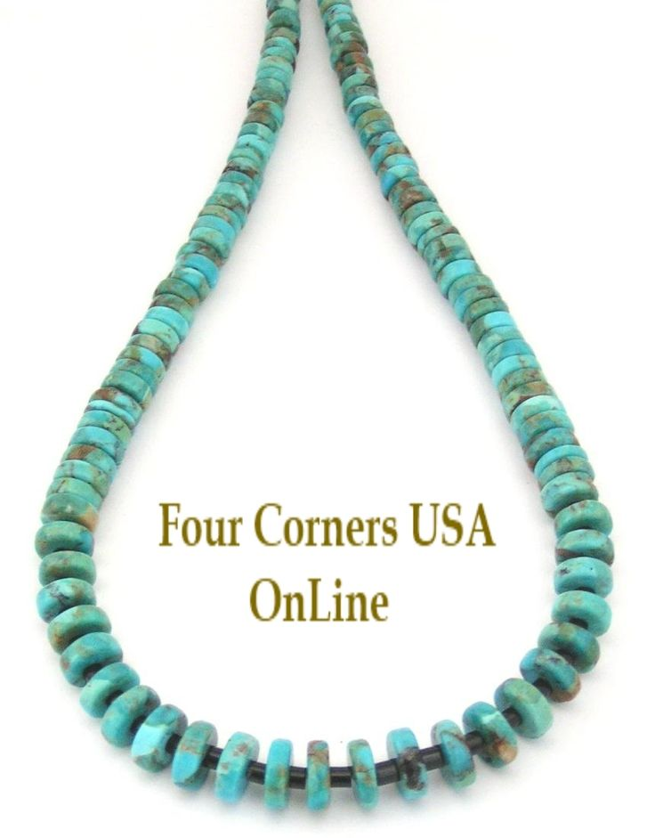 corners online american turquoise strand inch graduated beads to kingman usa kng four heishi rounded bead supplies jewelry