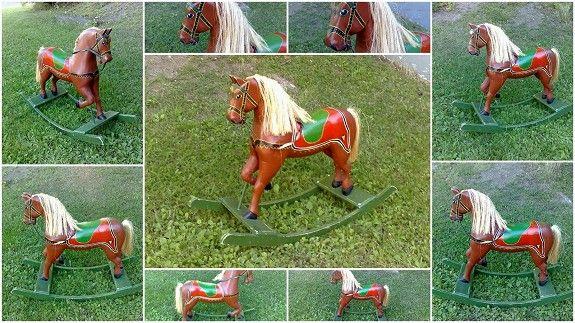 Rocking Horse - Retro Gyngehest Blakken 1948 Modell Original Maling, Pen lys Man, solide meier