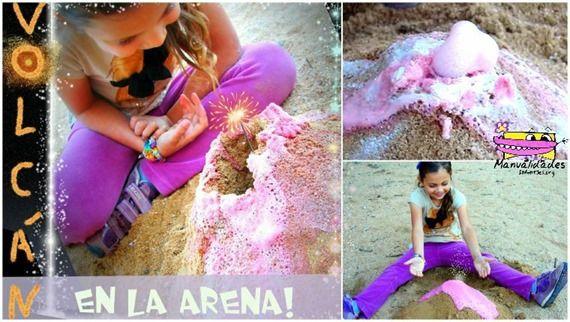 Un volcán en la arena super fácil se puede hacer hasta en la playa!! http://www.manualidadesinfantiles.org/un-volcan-en-la-arena