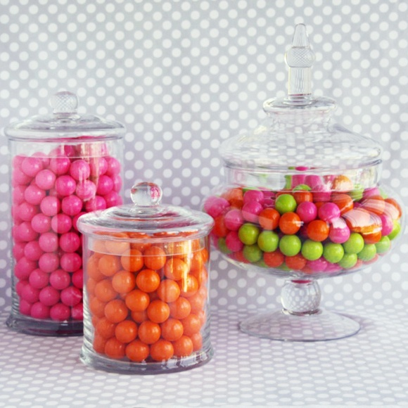 Glass Candy Canisters! Love these!: Candy Canisters, Glass Candy, Candy Buffet, Candy Bars, Party Supplies, Glass Canisters, Party Ideas, Candy Jars, Birthday Ideas