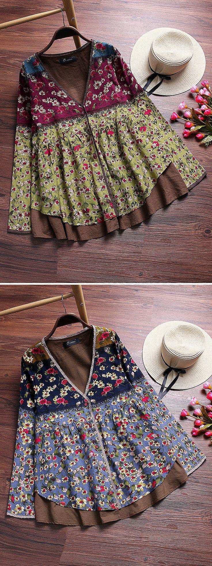Vintage Floral Printed Patchwork V-Neck Fake Two-Piece Shirt #top #fashion South Africa Travel Para Informações Acesse nosso Site http://storelatina.com/southafrica/travelling #SouthAfricaTravel #viajeafrica