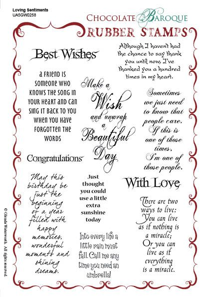 Loving Sentiments Unmounted Rubber stamp sheet - A5