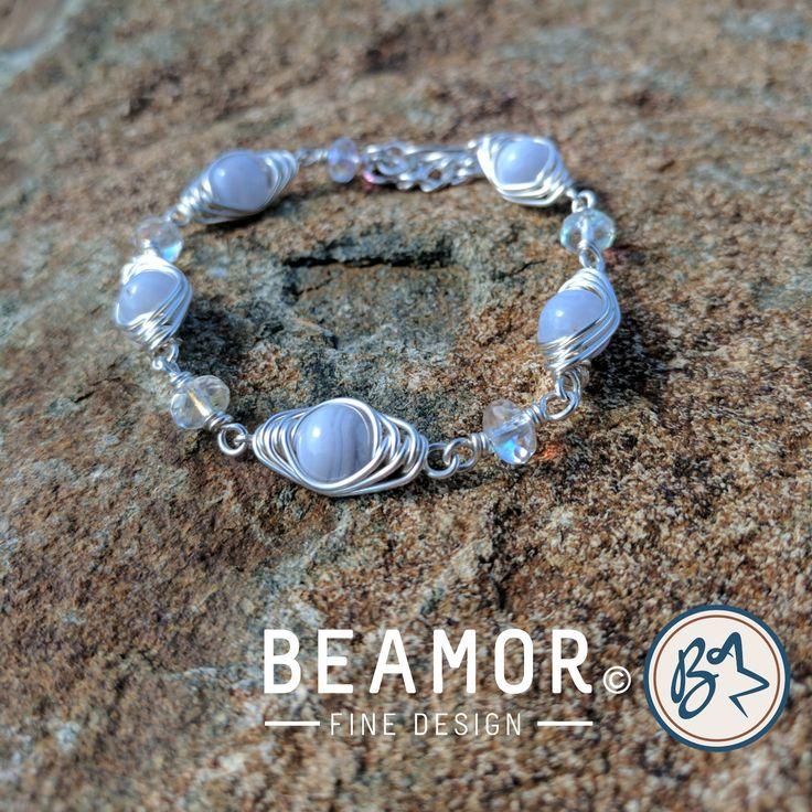 Blue Lace Agate Gemstone Bracelet Wire wrap Herringbone weave boho style by BeamorFineDesign on Etsy