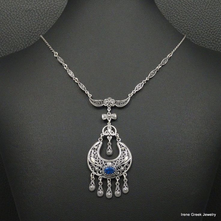 RARE BLUE SAPPHIRE MEDIEVAL FILIGREE STYLE 925 STERLING SILVER GREEK NECKLACE #IreneGreekJewelry #Pendant