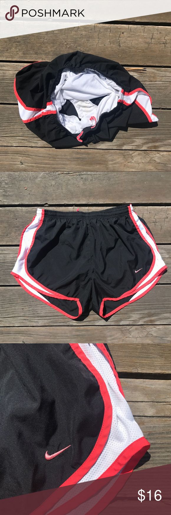 Nike Tempo Dri-Fit shorts Nike black with white and red trim. Good used condition. Nike Shorts