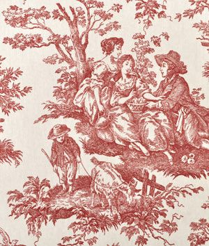 Waverly Country Life Toile Garnet Fabric