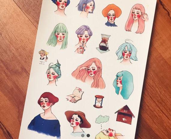 La Dolce Vita Frauen Hai Aufkleber Set von PaperPlusCloth auf Etsy