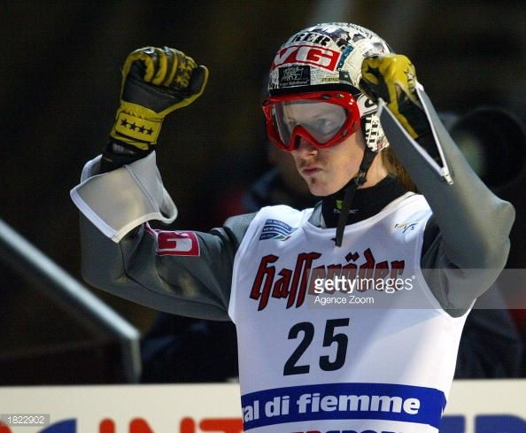 Tommy Ingebrigsten of Norway 3rd place celebrates after his jump during the K95 event of the FIS World Championships on February 28 2003 in Val Di...