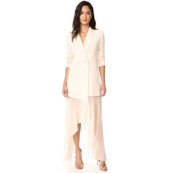 Shop Haute Hippie Bonita Tux Dress in Amour at Modalist |... ($695) ❤ liked on Polyvore featuring dresses, tuxedo suit, pink dress, pink tuxedo, dinner suit and tuxedo dress