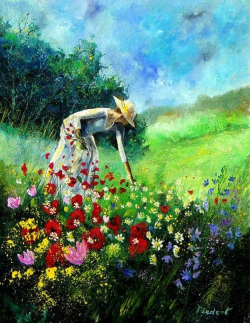 Gathering Flowers by Pledent: Oil Paintings, Flower Pictures, Artists Pol, Hands Paintings, Happy Birthday, Art Paintings, Pick Flower, Pol Ledent, Paintings Oil