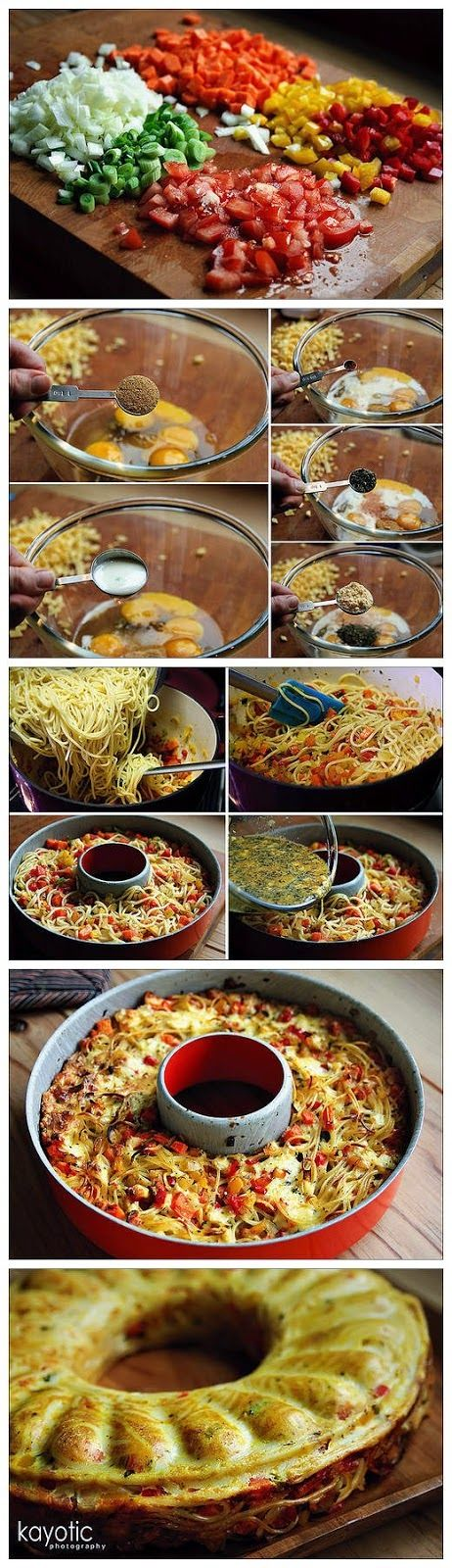 How To Make Spaghetti Pie Ingredients: 10 oz spaghetti 7 oz cheese 2 bell peppers 1 large onion 1 large carrot 2 spring onions ...