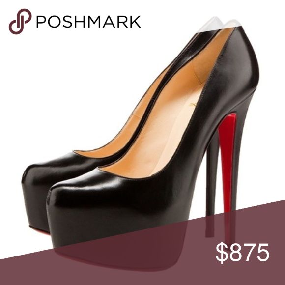 Authentic Christian Louboutin 160 daffodile heels Authentic Christian Louboutin size 38.5 black leather 160 heel height (approx 6 inches) the bottoms have vibrams added to keep the soles red. Recently reconditioned leather, they are in excellent condition. As seen on the kardashians, Selena Gomez, Jennifer Lopez, Beyoncé, Carmen Electra, Ashley Grande and many more top Hollywood celebrities and fashionistas. They are the perfect way to stand out if you dare! Get the same shoe as your…