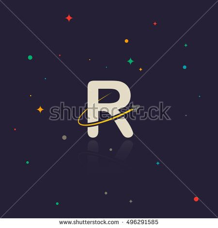 Letter R logo with swoosh and rocket, space themed