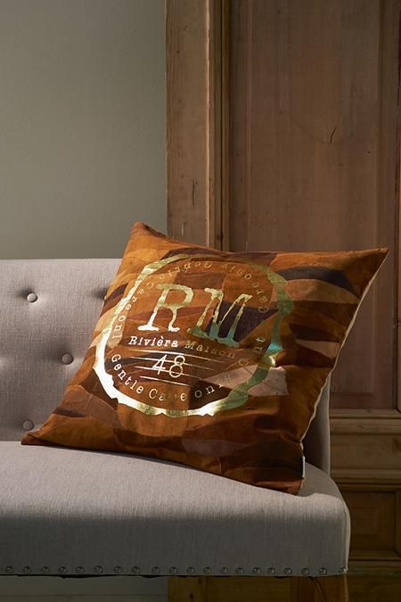 RM Gold Leather Pillow brown 60x60