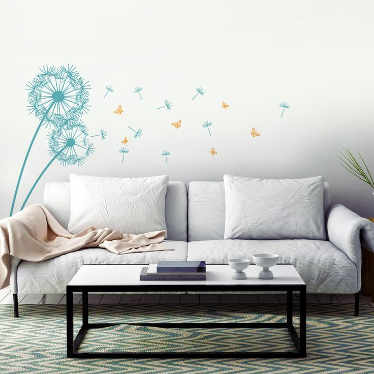 Dandelion And Butterflies In The Wind Wall Decal Sticker