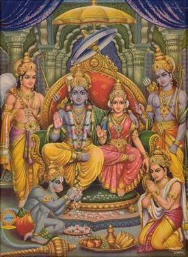Rama, Sita, Laxman, Bharat, Shatrughana  and Hanuman in Rama's Court.