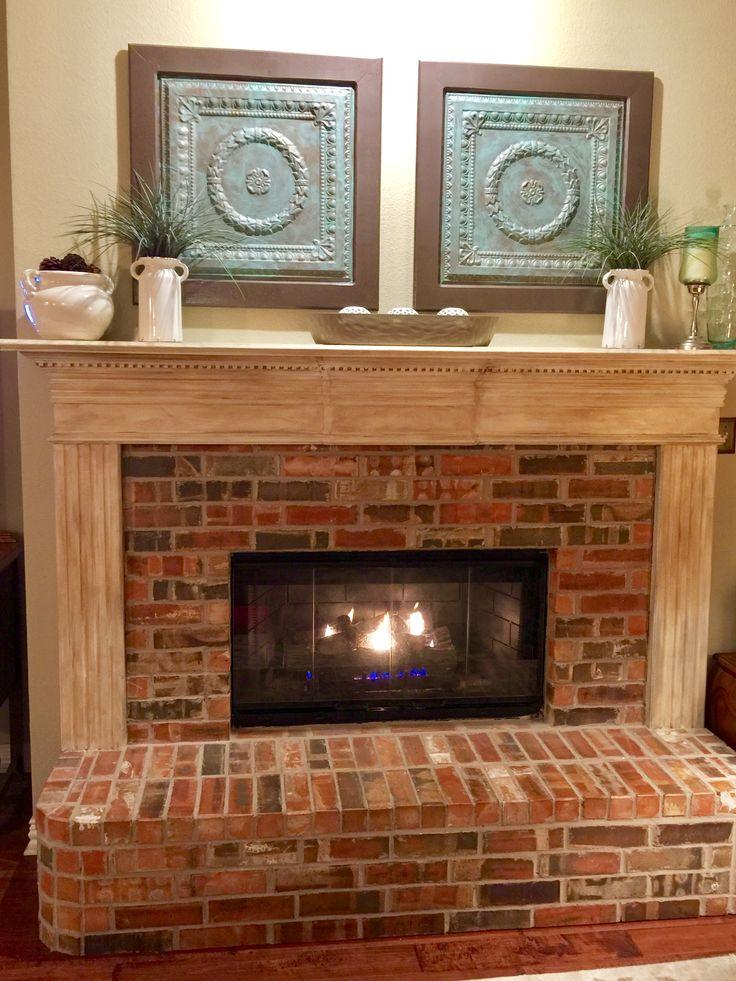 Annie Sloan Mantle makeover. Brick fireplace. Refurbished ceiling tiles. Simple decor.