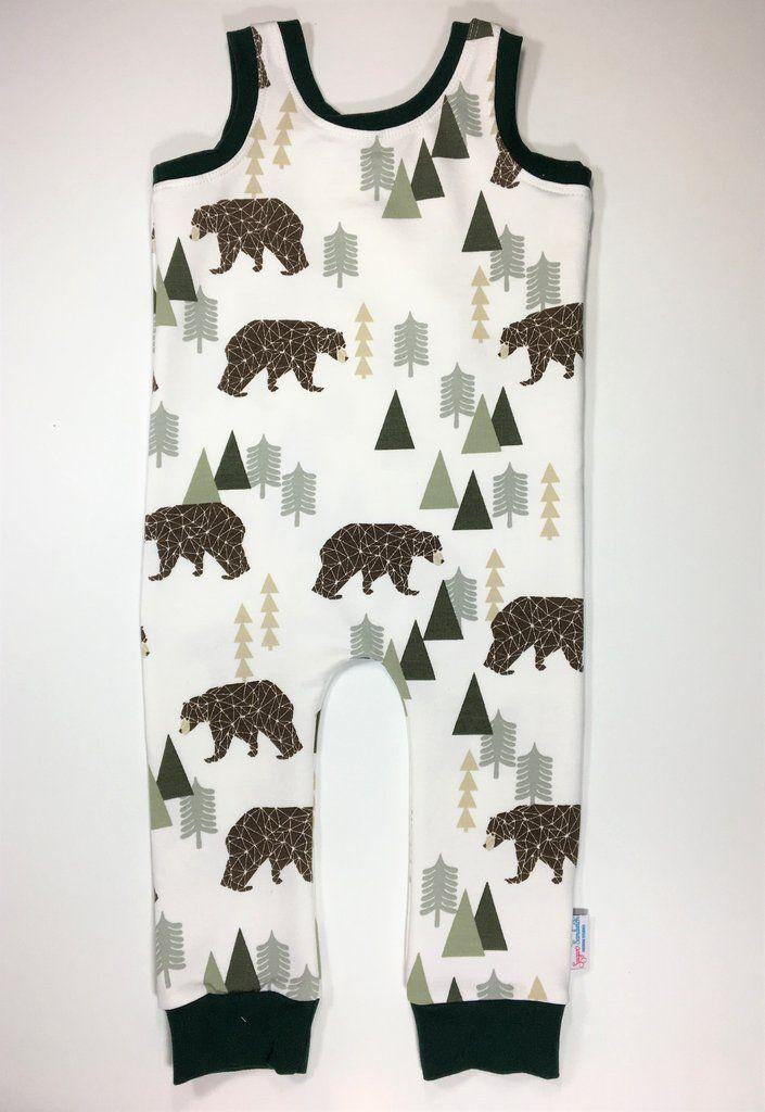 Rompers Organic Cotton Bear Trees Print