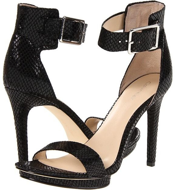 Calvin Klein Vivian (Black Snake Print Patent) High Heels - women's fashion / Open toe shoes