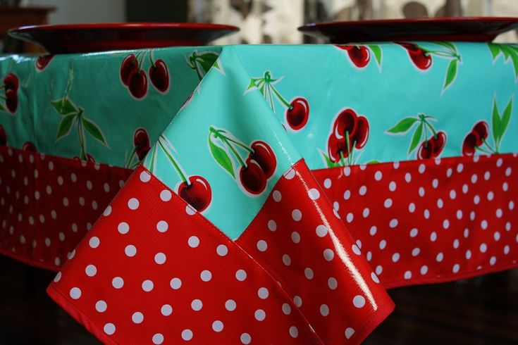 "Turquoise Cherry-White on Red Polka Oilcloth Tablecloth 84"" x 56"""