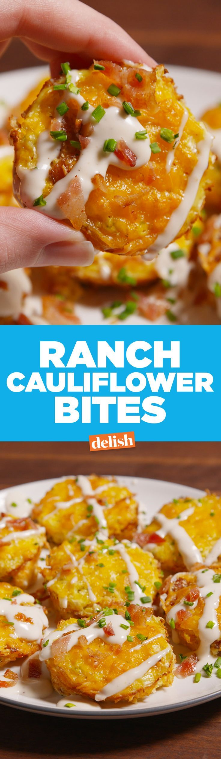 You won't be able to stop eating these low-carb Bacon Ranch Cauliflower Bites—they're addictive! Get the recipe on http://Delish.com.