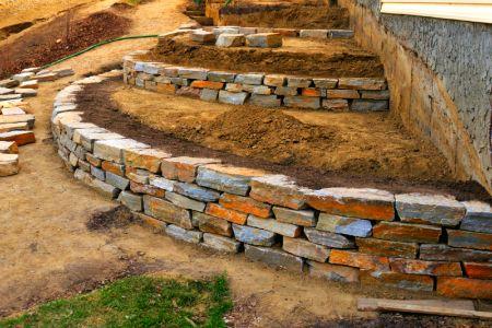 Garten -Trockenmauer - Naturstein - rock wall