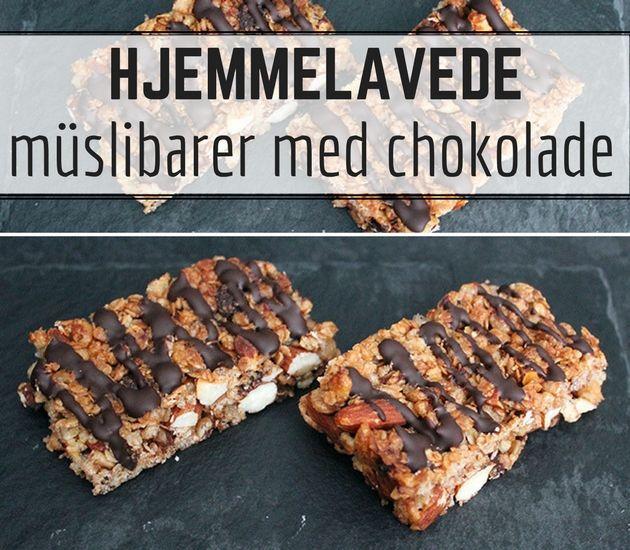 Fantastiske müslibarer med chokolade, som er super nemme at lave og perfekte som snack eller mellemmåltid.