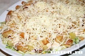Салат Цезарь с курицей и ананасом, salaty myasnye salaty