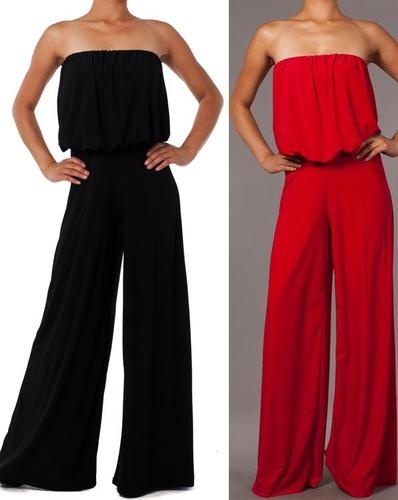 New Woman Strapless Jumpsuit Tube Loose Fitting Sexy Full Wide Leg s M L   eBay