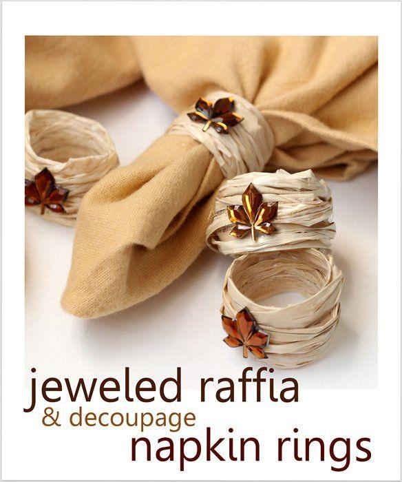 Fall DIY napkin rings using raffia and dollar store supplies