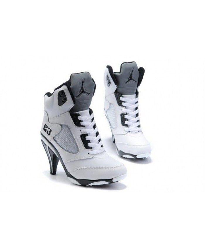 39b9e31a4c6583 Air Jordan 5 v Womens Heels Ankle Boots White Black