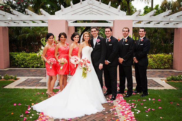 Coral wedding party inspiration for a formal wedding